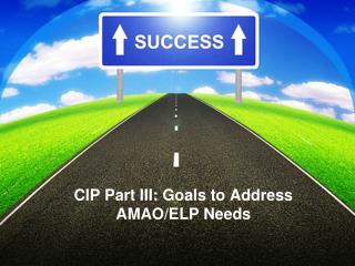 CIP Part III:  Goals to Address AMAO/ELP Needs