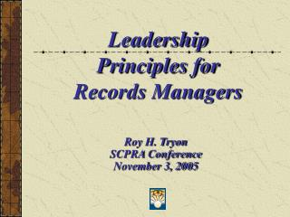 Leadership Principles for Records Managers