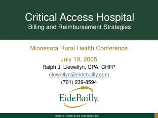 Critical Access Hospital Billing and Reimbursement Strategies
