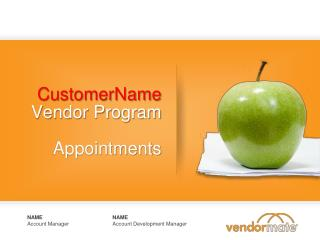 CustomerName Vendor Program  Appointments