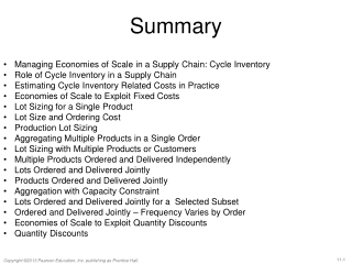 Managing Economies of Scale in a Supply Chain : Cycle Inventory
