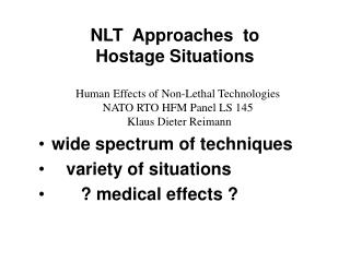 NLT  Approaches  to  Hostage Situations