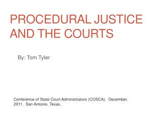 Procedural justice and the courts