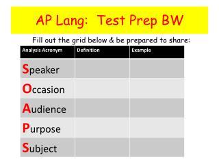 AP Lang:  Test Prep BW