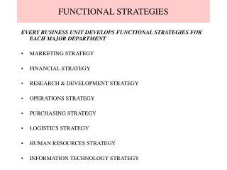 FUNCTIONAL STRATEGIES