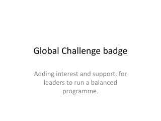 Global Challenge badge