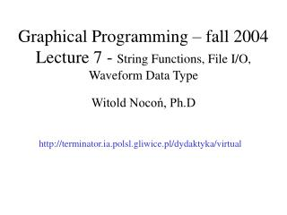 Graphical Programming  – fall 2004 Lecture 7 -  String Functions, File I/O, Waveform Data Type