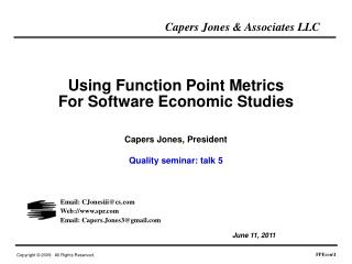 Using Function Point Metrics For Software Economic Studies