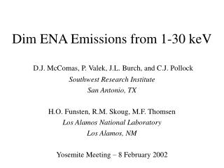 Dim ENA Emissions from 1-30 keV