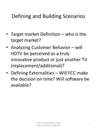 Defining and Building Scenarios