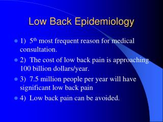 Low Back Epidemiology