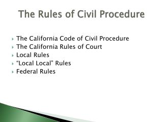 The Rules of Civil Procedure