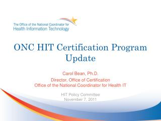 ONC HIT Certification Program Update