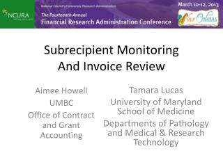 Subrecipient  Monitoring And Invoice Review
