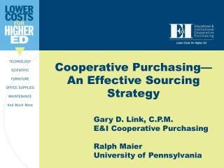 Cooperative Purchasing—An Effective Sourcing Strategy