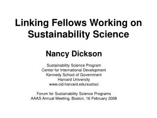 Linking Fellows Working on Sustainability Science