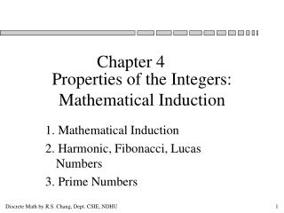 Properties of the Integers: Mathematical Induction