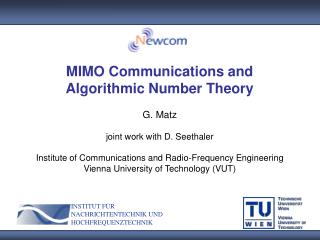 MIMO Communications and  Algorithmic Number Theory