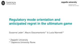 Regulatory mode orientation and anticipated regret in the ultimatum game