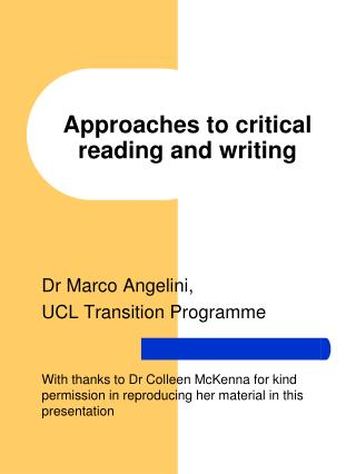 Approaches to critical reading and writing