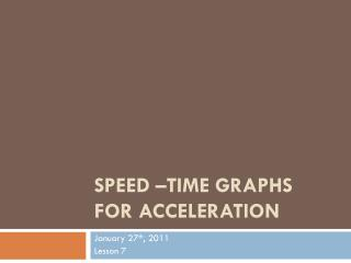 Speed –Time Graphs for  Acceleration