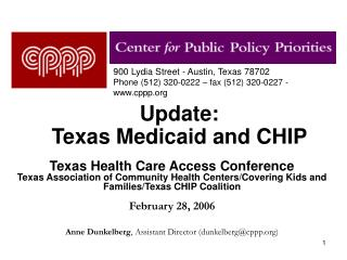 Update:  Texas Medicaid and CHIP