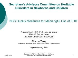 NBS Quality Measures for Meaningful Use of EHR