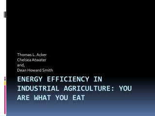 Energy Efficiency in Industrial Agriculture: You Are What You Eat