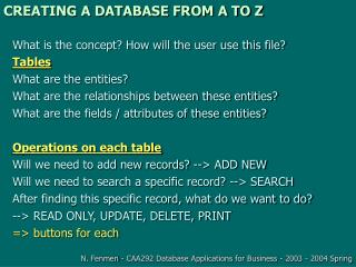 CREATING A DATABASE FROM A TO Z