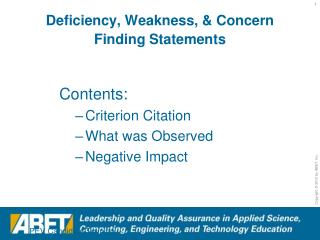 Deficiency, Weakness, & Concern Finding Statements