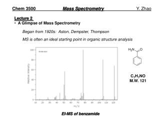 Chem 3500	 Mass Spectrometry 		          Y. Zhao