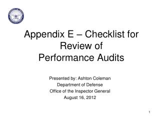 Appendix E – Checklist for Review of  Performance Audits