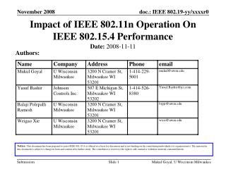 Impact of IEEE 802.11n Operation On IEEE 802.15.4 Performance