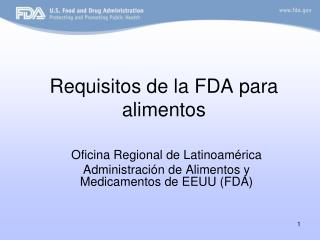 Requisitos de la FDA para alimentos