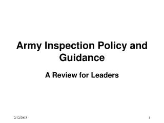 Army Inspection Policy and Guidance
