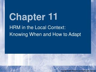HRM in the Local Context:  Knowing When and How to Adapt