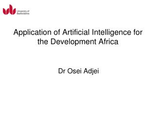 Application of Artificial Intelligence for the Development Africa