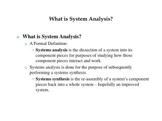 What is System Analysis?