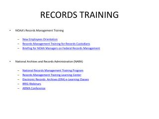 RECORDS TRAINING