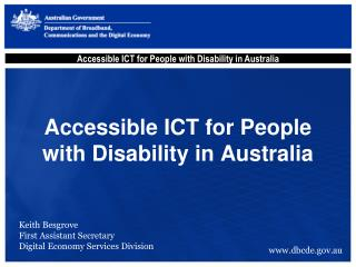 Accessible ICT for People with Disability in Australia