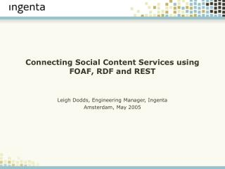 Connecting Social Content Services using FOAF, RDF and REST