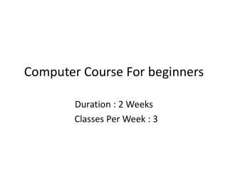 Computer Course For beginners
