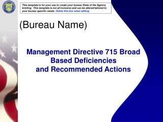 Management Directive 715 Broad Based Deficiencies  and Recommended Actions