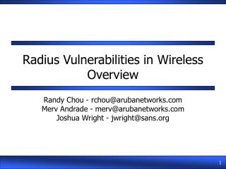 Radius Vulnerabilities in Wireless Overview