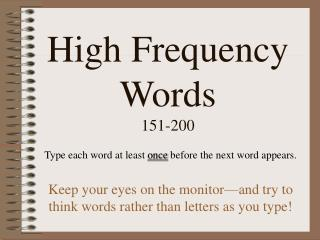High Frequency Words 151-200