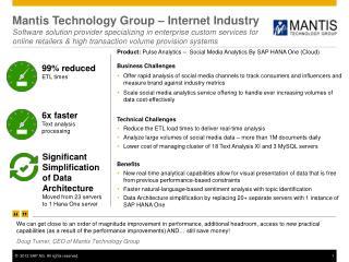 Product :  Pulse  Analytics –  Social Media  Analytics By SAP HANA One (Cloud)
