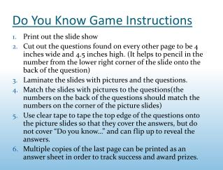 Do You Know Game Instructions