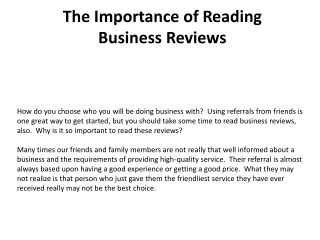 The Importance of Reading Business Reviews