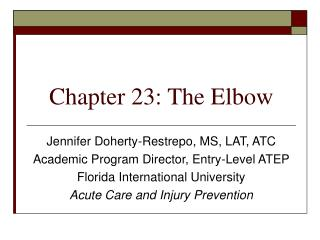 Chapter 23: The Elbow