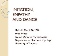 IMITATION,  EMPATHY  AND DANCE
